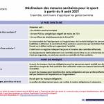 Déclinaison des mesures sanitaires pour le sport  à partir du 9 août 2021